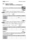 Mathematik, Größen & Messen, Grundrechenarten, Geld, Addition, Subtraktion, Multiplikation