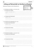 Mathematik, Raum & Form, Fläche und Umfang, quadrat, rechteck, arbeitsblätter