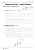 Mathematik, Geometrie, Raum & Form, Körperberechnung, Oberfläche, Quader, volumenberechnung, arbeitsblätter