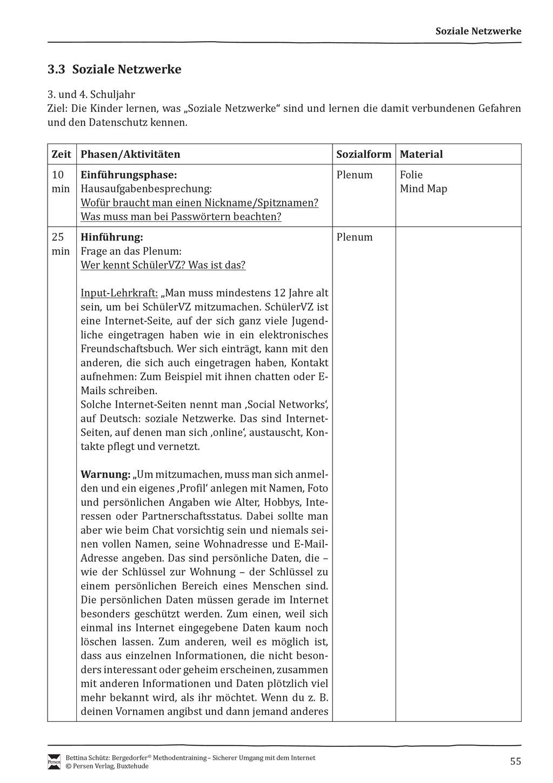 Soziale Netzwerke: Gefahren und Datenschutz + Verlaufsplanung Preview 1