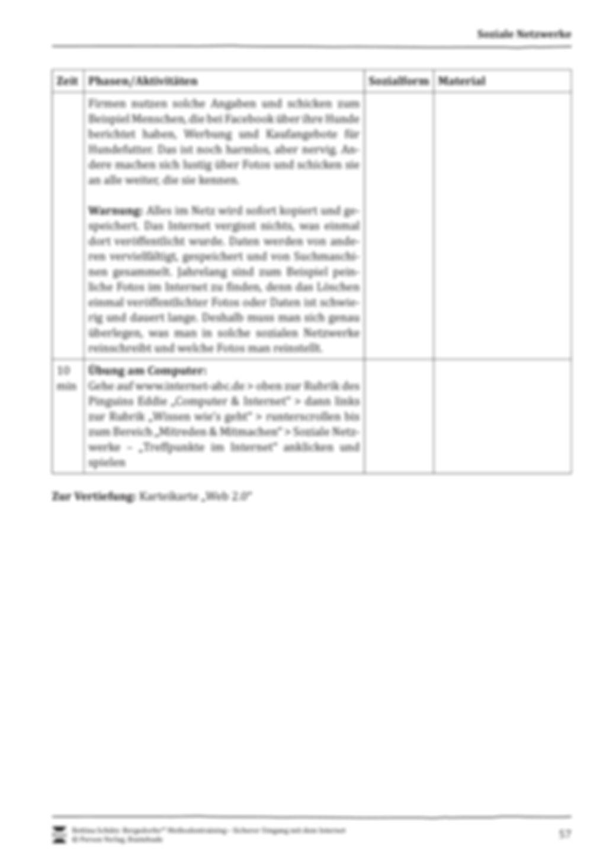 Soziale Netzwerke: Gefahren und Datenschutz + Verlaufsplanung Preview 3