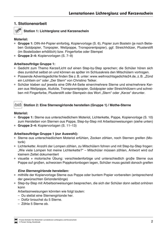 Stationen- bzw. Gruppenarbeit zum Thema Weihnachten + detaillierte Materialliste für die Stationen Preview 1