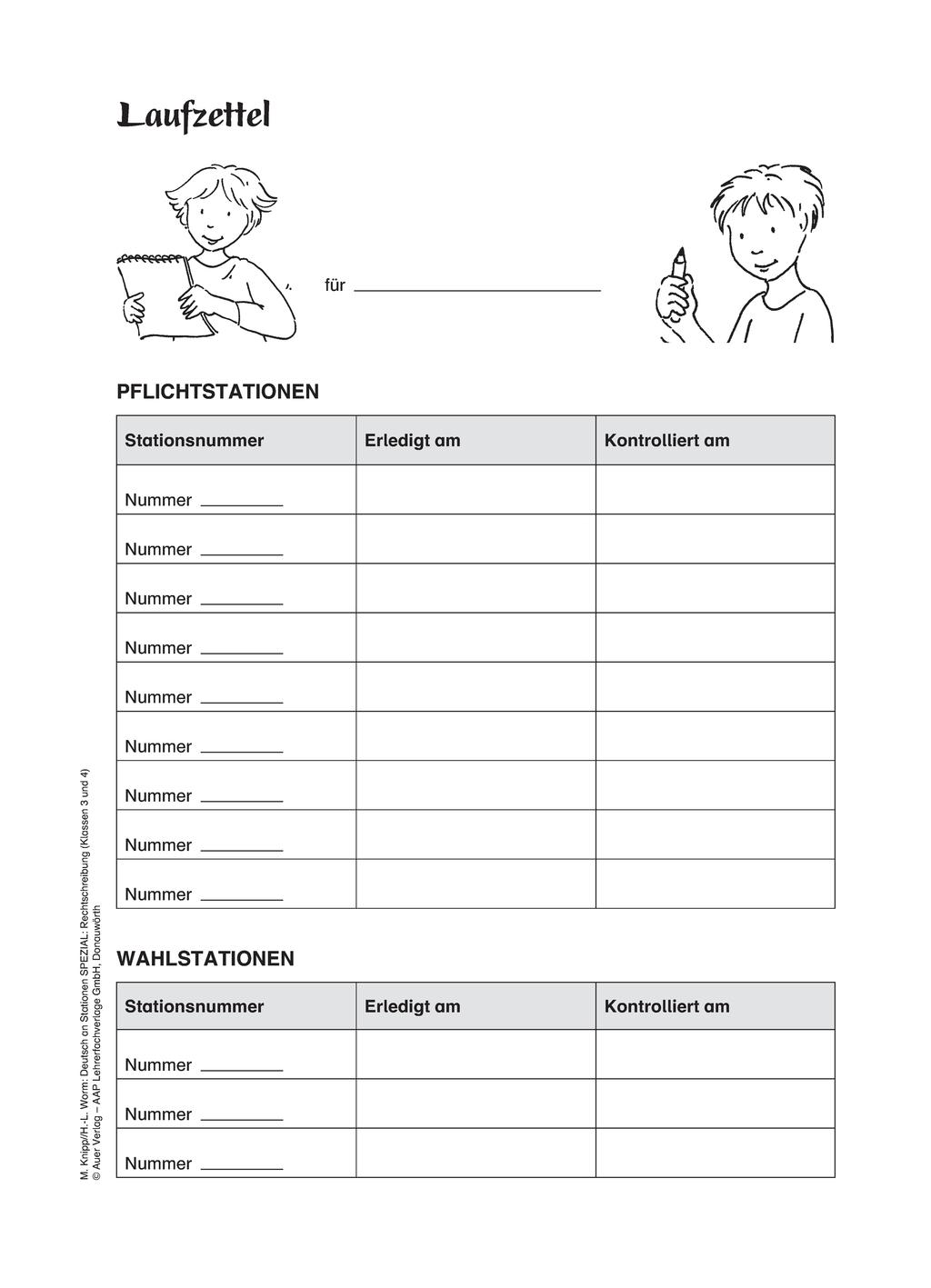 Stationenlernen zur Zeichensetzung: Laufzettel für Lernende Preview 1