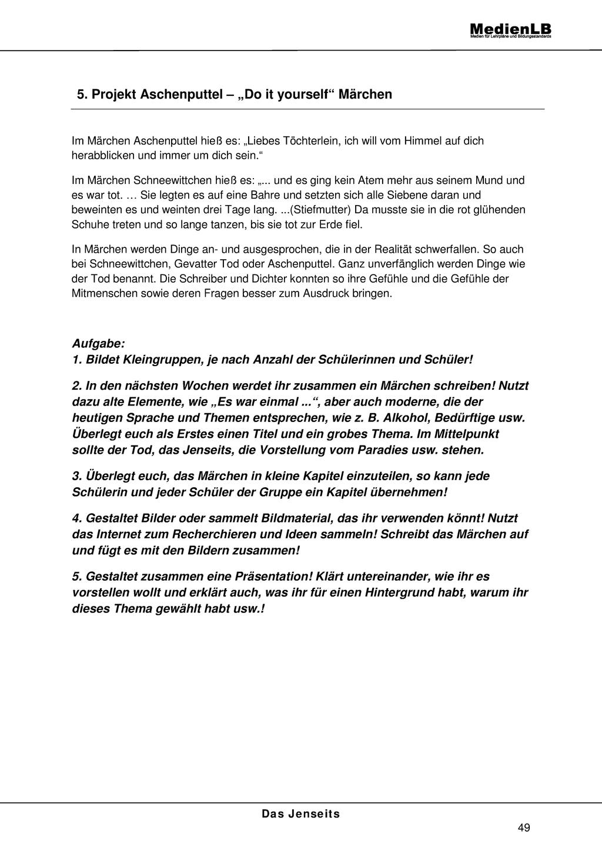 Jenseits - Projektarbeit zum Schreiben von Märchen Preview 1