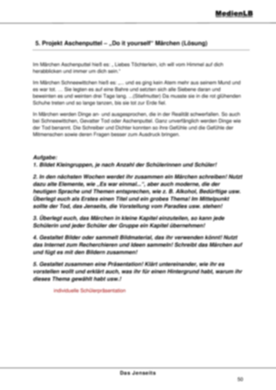 Jenseits - Projektarbeit zum Schreiben von Märchen Preview 2