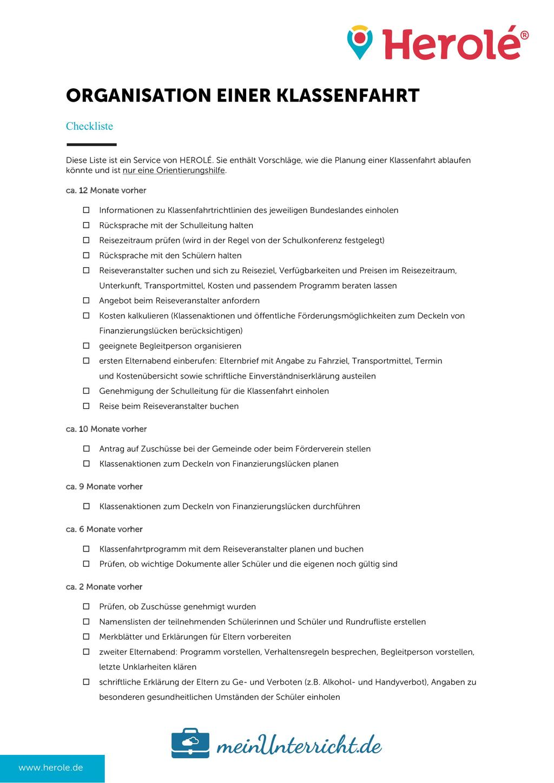 Klassenfahrt planen: Checkliste für Lehrer Preview 1