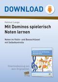Musik_neu, Sekundarstufe I, Musiktheorie, Tonsystem, Noten- und Pausenwerte, Domino-Varianten, Noten erkennen, c1, c2