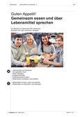 """Deutsch als Zweitsprache, Lernfeld """"Miteinander leben"""", Kerninhalte, Grundkurs, Speisen kennen lernen, Ein Fest planen"""