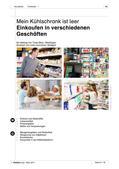 """Deutsch als Zweitsprache, Lernfeld """"Sich orientieren"""", Kerninhalte, Grundkurs, Einkaufsmöglichkeiten kennen und nutzen"""