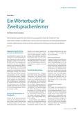 Deutsch als Zweitsprache, Wörterbuch, DaZ, Auswahlkriterien, Empfehlungen