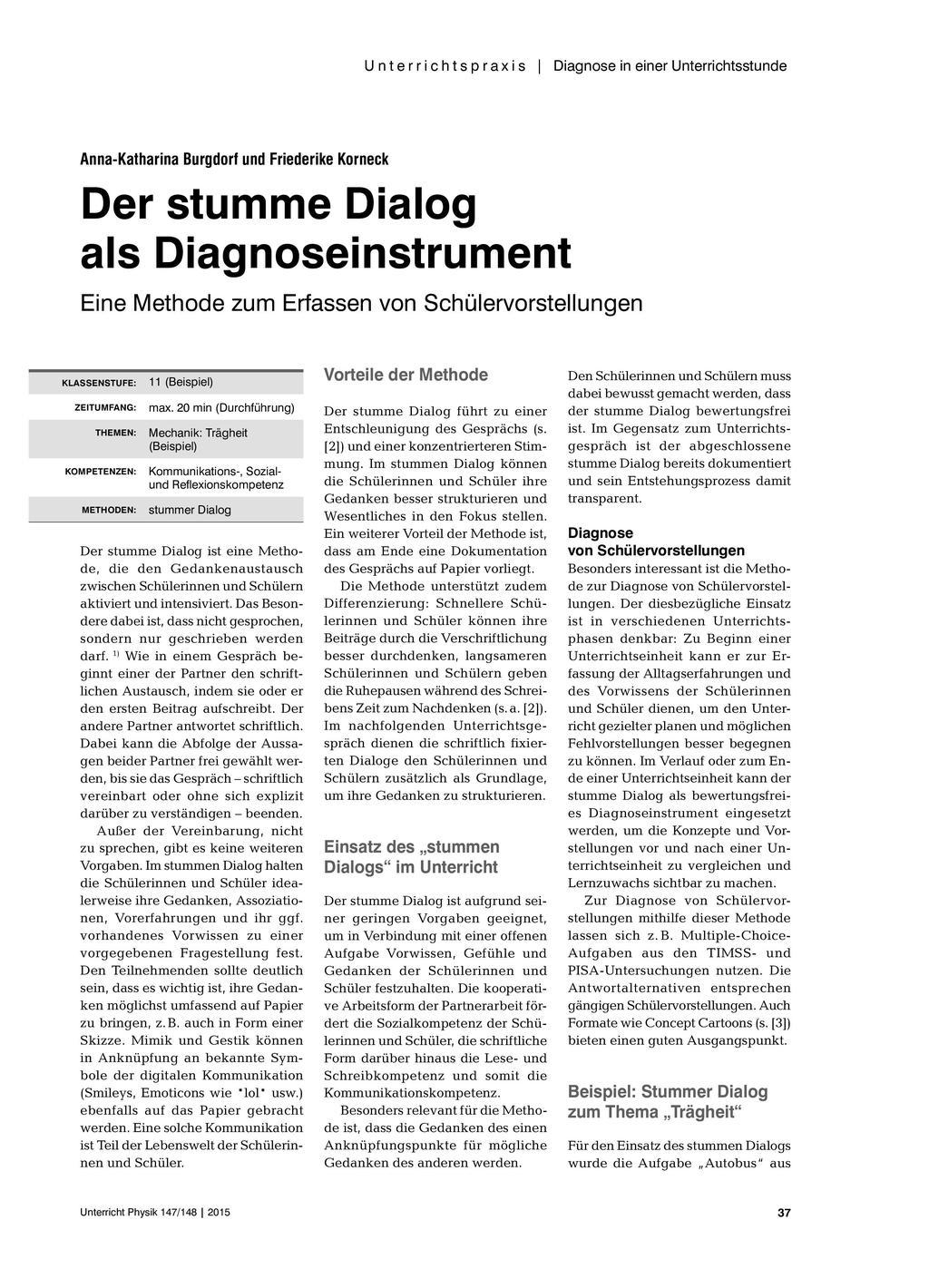 Der stumme Dialog als Diagnoseinstrument - Eine Methode zum Erfassen von Schülervorstellungen Preview 1
