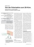 Physik_neu, Sekundarstufe II, Optik, Licht und seine Eigenschaften, Polarisation, Leinwand, Projektor, Beamer, Spektroskopie, Überlagerung, Kinobrille