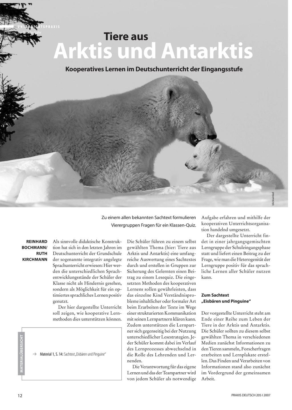 Tiere aus Arktis und Antarktis - Kooperatives Lernen im Deutschunterricht der Eingangsstufe Preview 1