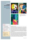 Kunst_neu, Sekundarstufe I, Flächiges Gestalten, Darstellung von Räumlichkeit, Malen, Perspektiven, Farbe als Gestaltungsmittel, Kombination verschiedener Perspektiven, Perspektive und Perspektivwechsel, Frontalsicht, Profilsicht, Porträt, Malen, Kubismus, Picasso, Gesicht