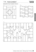 Mathematik_neu, Primarstufe, Raum und Form, Geometrische Muster, Muster, Form, Schablone, vervollständigen, ergänzen, Farbe