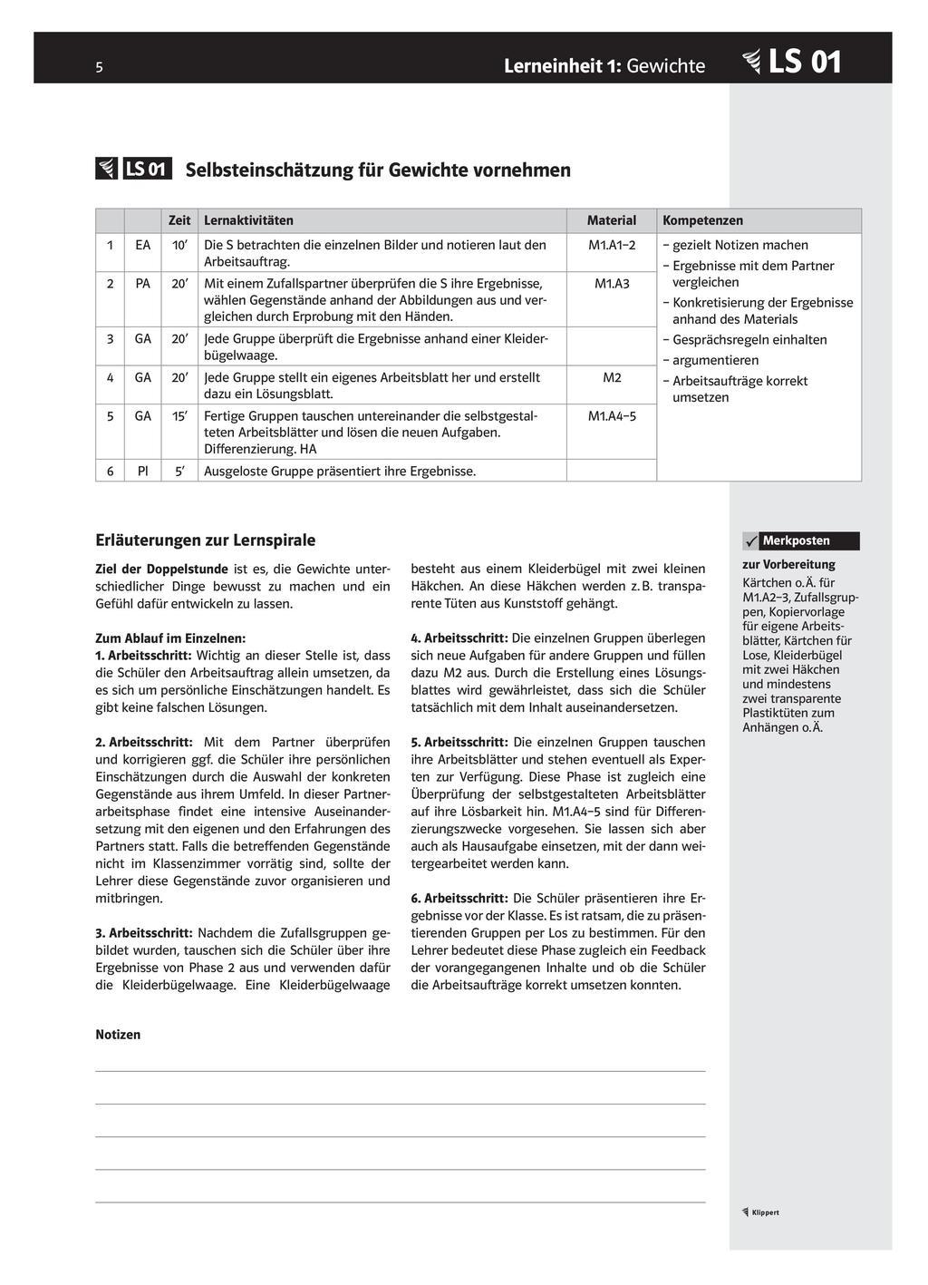 LS 01 Selbsteinschätzung für Gewichte vornehmen Preview 1